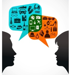 Man and woman with speech bubbles - shopping theme vector