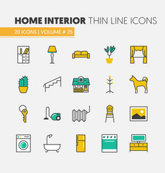 House interior linear thin line icons set vector