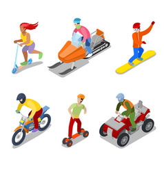 People on snowboard atv and motorcycle vector