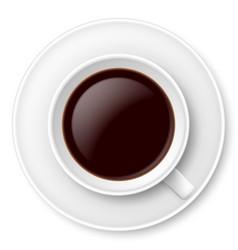 White mug of coffee and saucer on white vector