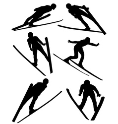 Ski jumping silhouette vector