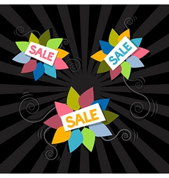 Sale Titles on Abstract Leaves Background vector image