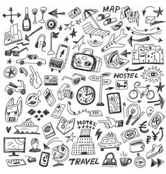 travel - big doodles set vector image