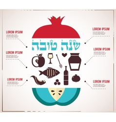 Infographics for jewish new year hebrew happy new vector