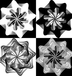 Black and white pattern lace flower snowflake vector