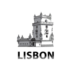 The sketch of belem tower in lisbon vector