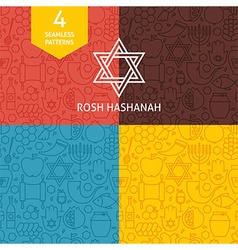 Thin line rosh hashanah holiday patterns set vector