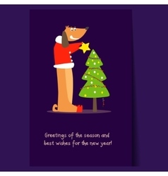 Funny dog and christmas tree flat vector