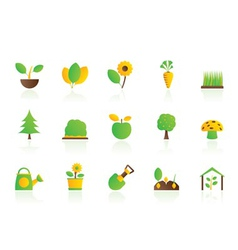 Different plants and gardening icons vector