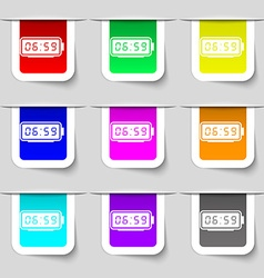 Alarm clock icon sign set of multicolored modern vector