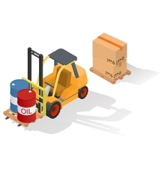 Isometric forklift truck with barrel vector