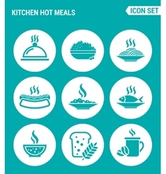 Set of round icons white kitchen hot meals dish vector