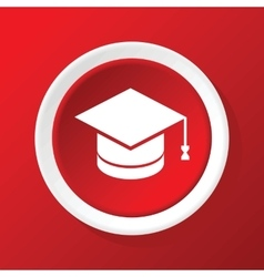 Academic hat icon on red vector