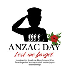 Anzac day poster with military soldier vector