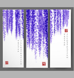 banners with wisteria hand drawn with ink vector image