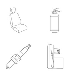 Chair with headrest fire extinguisher car candle vector