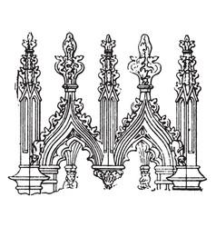 Crest gables vintage engraving vector