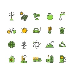 Ecology colorful outline icon set vector