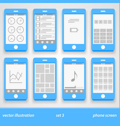 Flat phone screen set 3 vector