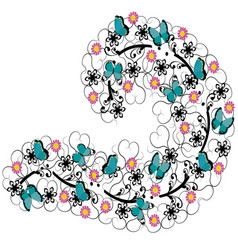 Flourishes with flowers and butterflies vector