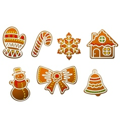 Gingerbread cookies set vector image