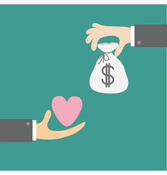 Hands with heart and money bag Exchanging concept vector image