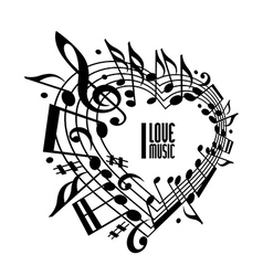 I love music concept black and white design vector image vector image