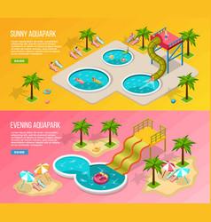 Isometric aqua park banner set vector
