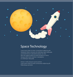 rocket with moon poster brochure vector image vector image