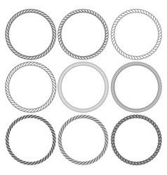 Round rope frames collection on white background vector