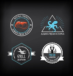 Seafood menu and badges design elements vector