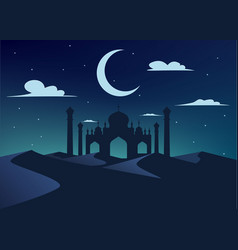 Silhouette of mosque in night desert vector