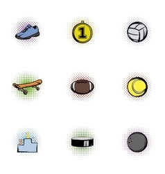 Sports stuff icons set pop-art style vector image vector image