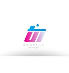tn t n alphabet letter combination pink blue bold vector image