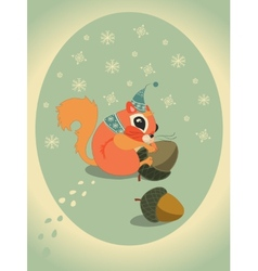 Winter squirrel on snow with acorn vector image
