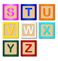 Wooden block letters s to z vector