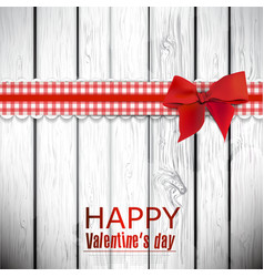 Red cloth ribbon on wooden background valentines vector