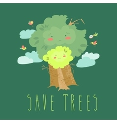 Eco friendly ecology concept with cartoon trees vector