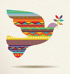 Christmas peace dove art design in fun colors vector