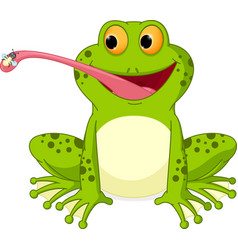 Happy frog cartoon catching fly vector