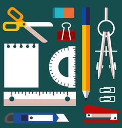 stationery elements set elementary school vector image