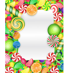 Colorful candy background with lollipop and orange vector