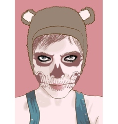 Halloween make up cute zombie girl vector