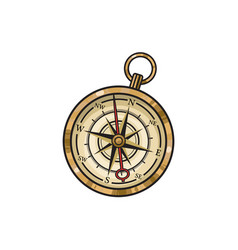 Hand drawn vintage old hand drawn compass vector