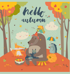 Hello autumn background with cute animals vector