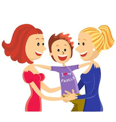 Young lesbian couple family with son vector image