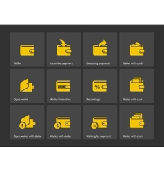 Wallet icons vector