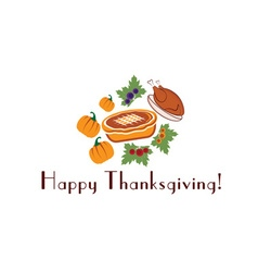 Happy thanksgiving with pieturkey and pumpkins vector