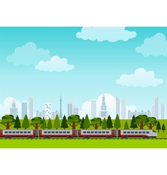 Railroad and train rides poster flat style vector