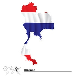 Map of Thailand with flag vector image